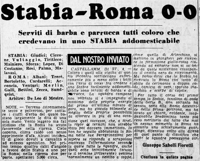 Juve Stabia-Roma. I campani a fine stagione retrocederanno da ultimi in classifica