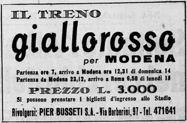Modena-Roma. Biglietto per il treno speciale dedicato ai tifosi giallorossi
