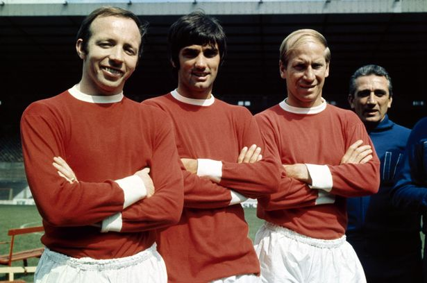 Nobby-Stiles-George-Best-and-Bobby-Charlton-at-Old-Trafford-inJuly-1968-838422