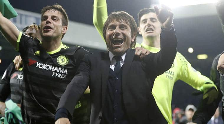 "Britain Football Soccer - West Bromwich Albion v Chelsea - Premier League - The Hawthorns - 12/5/17 Chelsea manager Antonio Conte celebrates with his players after winning the Premier League title Action Images via Reuters / Carl Recine Livepic EDITORIAL USE ONLY. No use with unauthorized audio, video, data, fixture lists, club/league logos or ""live"" services. Online in-match use limited to 45 images, no video emulation. No use in betting, games or single club/league/player publications.  Please contact your account representative for further details."